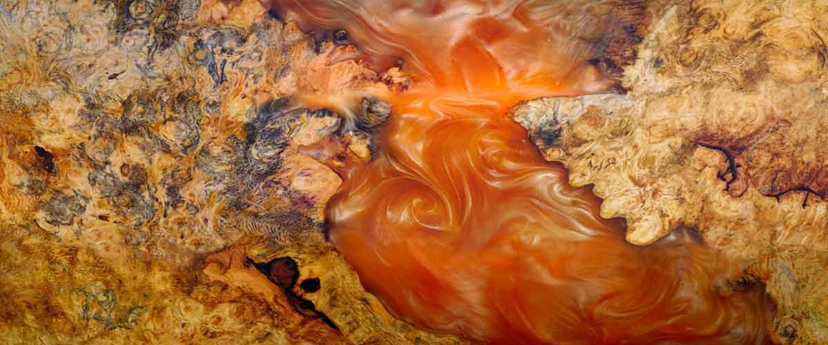 Orange Epoxy Resin Table Top