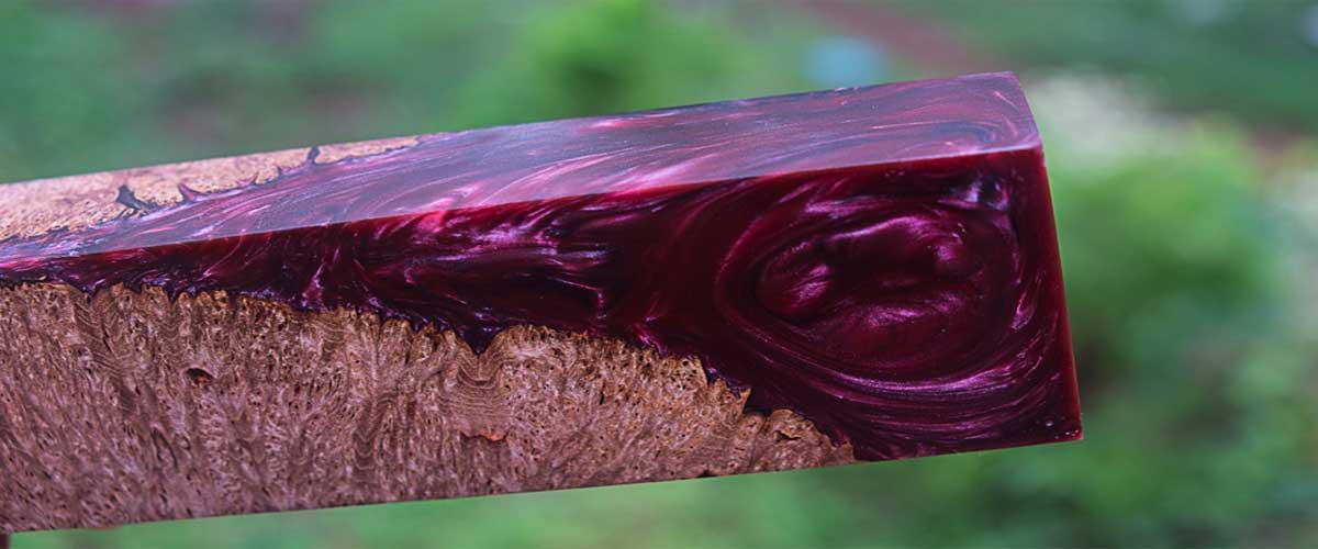 Purple epoxy resin table top