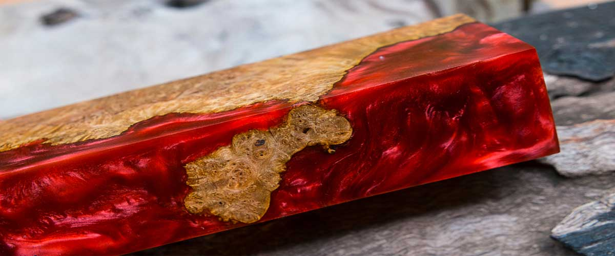 red epoxy resin table top