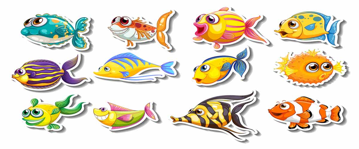 3D resin fish stickers
